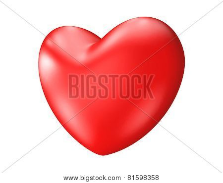 Big red 3D heart isolated over white background
