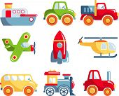 stock photo of kindness  - Different kind of toys transportation on white background - JPG