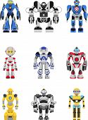 image of robotics  - Abstract robots set isolated on white background - JPG