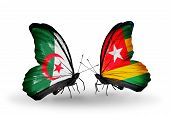Постер, плакат: Two Butterflies With Flags On Wings As Symbol Of Relations Algeria And Togo