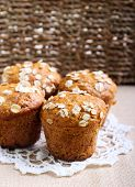 picture of oats  - Oat muffins with raisin with oat flackes topping - JPG