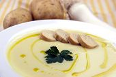 stock photo of italian parsley  - Italian potato and leek soup with olive oil parsley and croutons - JPG