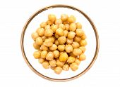 pic of chickpea  - Chickpeas on bowl on white background seen from above - JPG