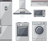 picture of household  - Vector illustration of household electronic elements in flat style - JPG