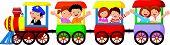 image of playmate  - Vector illustration of Happy kids cartoon on a colorful train - JPG