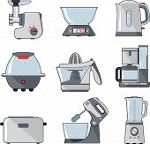 picture of household  - Household kitchen electric appliances in flat style - JPG