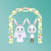 image of wedding arch  - Wedding Rabbit under wedding arch decorated with flowers - JPG