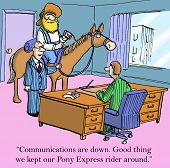 foto of pony  - Cartoon of businessmen talking with cowboy on horse nearby - JPG