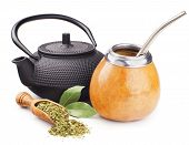 stock photo of teapot  - still life with mate yerba and teapot isolated on white - JPG