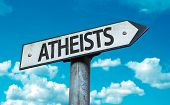 stock photo of darwin  - Atheists sign with sky background - JPG
