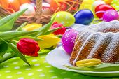 picture of easter basket eggs  - Easter cake eggs and tulips - JPG