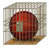 stock photo of jail  - Digital illustration of a basketball in a jail cell - JPG
