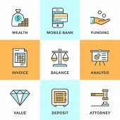 image of tool  - Line icons set with flat design elements of financial investment for development business project mobile banking and accounting tools safe deposit service - JPG