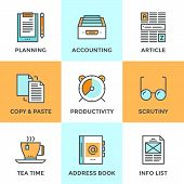 picture of lined-paper  - Line icons set with flat design elements of office accounting and clerk working routine business planning paperwork routine personal time management - JPG