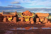 stock photo of dump_truck  - dump truck on a road construction site - JPG