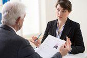 image of recruiting  - Elderly elegant man on his recruitment meeting - JPG