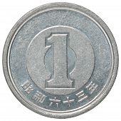 image of japanese coin  - Japanese yen isolated on white background closeup - JPG