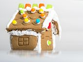picture of gingerbread house  - hand made gingerbread house on white background - JPG