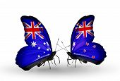 picture of politician  - Two butterflies with flags on wings as symbol of relations Australia and New Zealand - JPG
