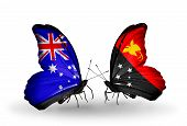 picture of guinea  - Two butterflies with flags on wings as symbol of relations Australia and Papua New Guinea - JPG
