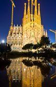 image of gaudi barcelona  - The famous Sagrada Familia in Barcelona illuminated at night - JPG
