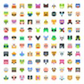 picture of angry smiley  - large set of pixel faces - JPG