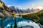 picture of rocky-mountains  - Landscape view of Moraine lake and mountain range at sunset in Canadian Rocky Mountains - JPG