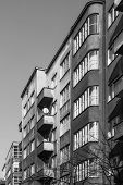 stock photo of tenement  - Facades of tenements built in the style of modernism in Katowice - JPG
