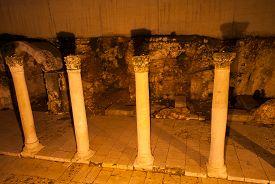 foto of cardo  - Ancient Roman main street through Jerusalem called the Cardo at night - JPG