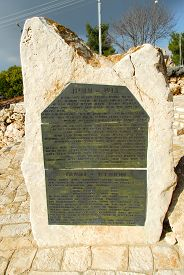 stock photo of gushing  - Memorial to Jews in Gush Etzion West Bank - JPG