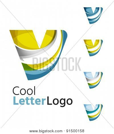Set of abstract letter V company logos. Business icons made of overlapping flowing waves. Light color modern minimal design
