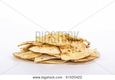 pile of flat bread isolated on white background