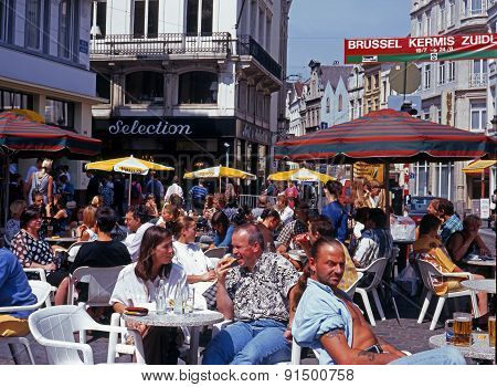 Pavement cafes, Brussels.