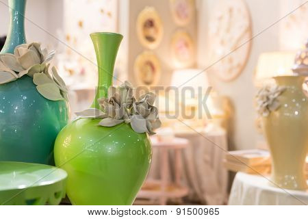 Ceramic vases in vintage interior