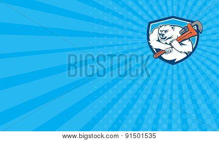 Business Card Polar Bear Plumber Monkey Wrench Shield Cartoon