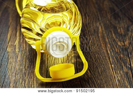 Vegetable Oil In Plastic Bottle Closeup