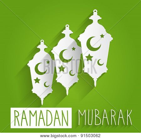 Ramadan Mubarak hand drawn text. Paper lamps with islamic symbols on green background