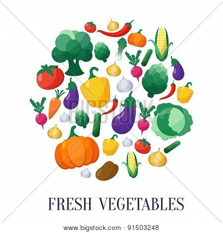 Vector Vegetables Flat Style Icons Set in Circle Shape