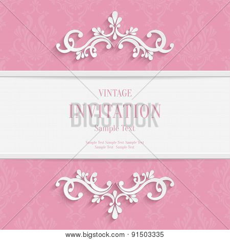 Vector Pink  Floral 3d Christmas and Invitation Cards Background