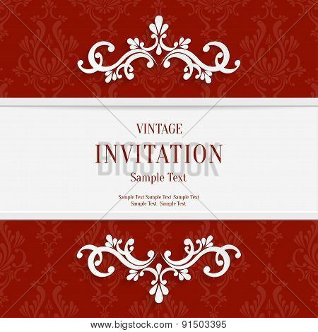 Vector Red Floral 3d Christmas and Invitation Cards Background