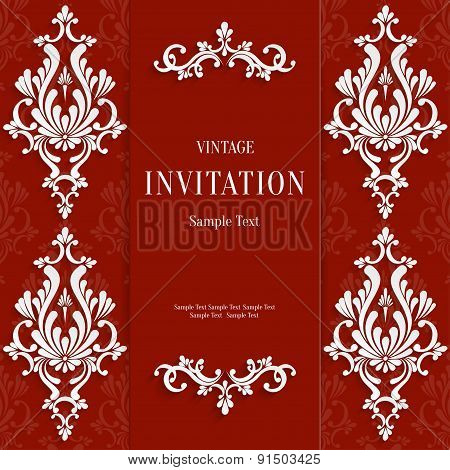 Vector Red Christmas Vintage Invitation Card with 3d Floral Pattern