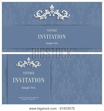 Vector Grey Floral 3d Background. Template for Greeting or Invitation Cards