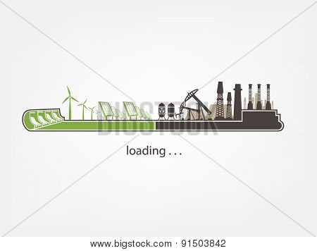 status Bar and factories against renewable energy