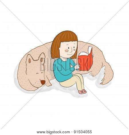 Girl Reading A Book With Her Sleeping Dog