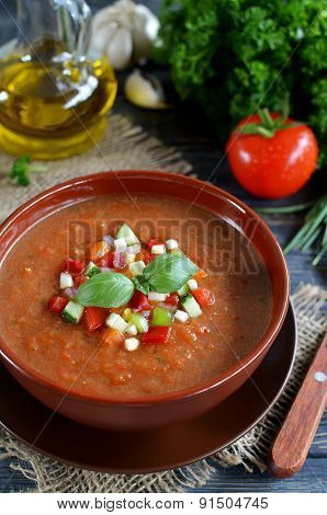 Fresh Gazpacho On A Wooden Table