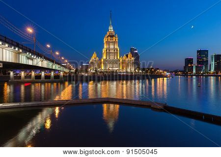 Hotel Ukraina one of the Seven Sisters buildings at dusk, Moscow