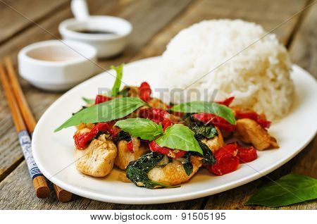 Basil Pepper Chicken Stir Fry With Rice