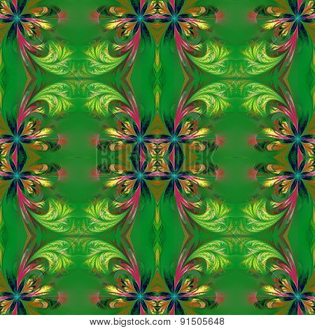 Beautiful Symmetrical Background From Fractal Tracery.