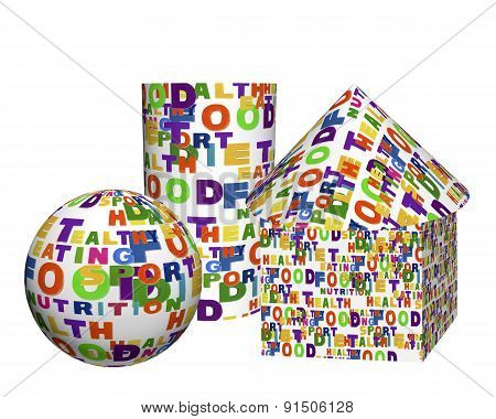 Conceptual Image Of A Tag Cloud, Expressed As Geometric Shapes - A Sphere, Box, Cylinder And Cone
