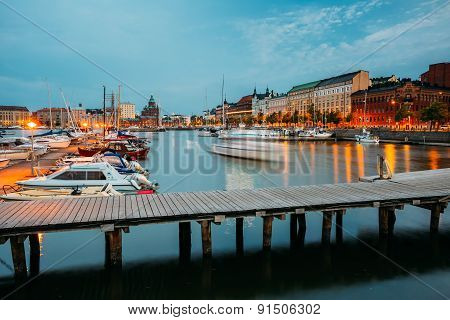 Embankment At Summer Evening In Helsinki, Finland. Town Quay, Fa